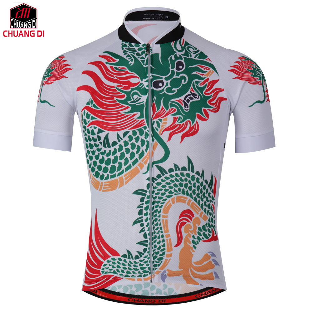 Prix pour Chuangdi 2017 Nouveau Hommes Couple Chemises Ropa Ciclismo Cycling Team Jersey Vélo À Manches Courtes Tops Vêtements de Plein Air Chinois dragon