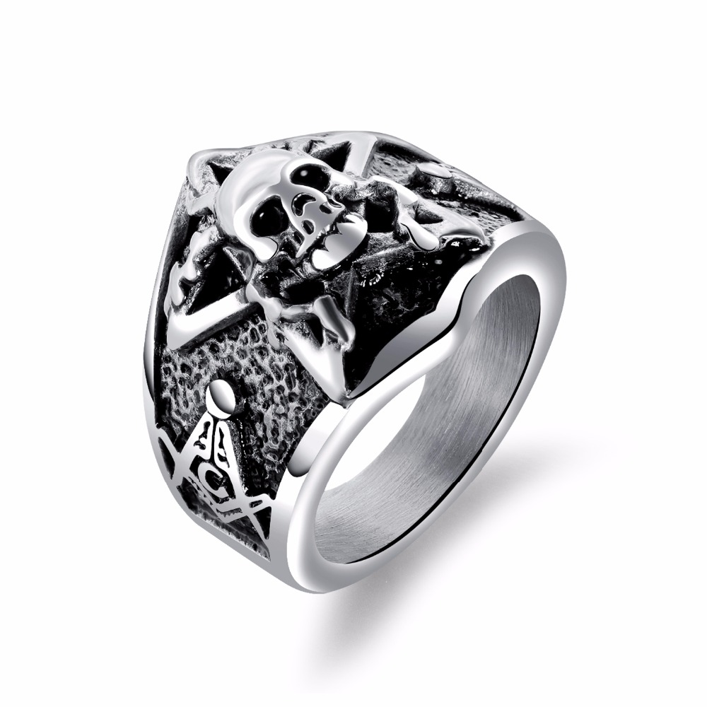 Punk Style Skull Men Jewelry Rings 316L Stainless Steel Skeleton Finger Ring For Man Trendy Male Accessories Band Gift GJ621