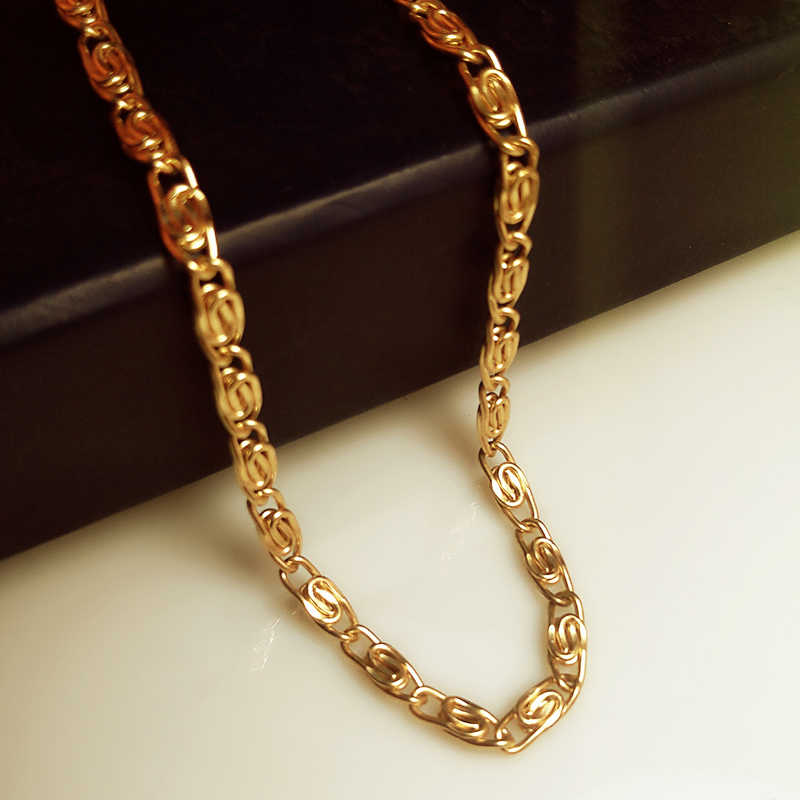 Alta calidad color oro 50cm largo de Cuban link Chain hiphop franco chain Declaration necklace jovenes joyería gargantilla