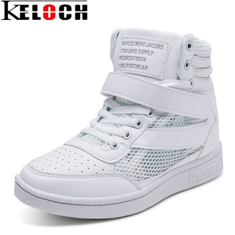 Keloch New Breathable Summer Shoes Women Sneakers Height Increasing 6 cm Outdoor Krasovki Women Sport Shoes Woman Walking White