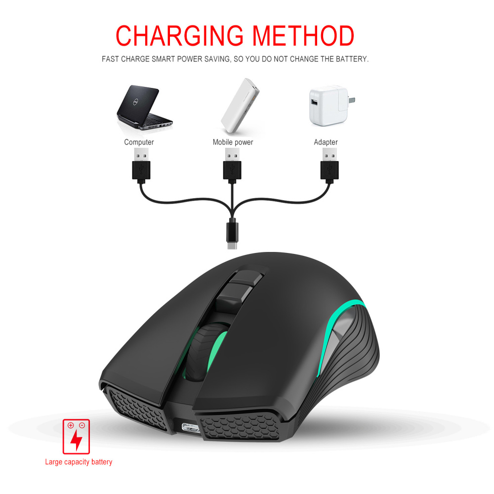 Image 5 - ZERODATE new TYPE C fast charging mouse wireless mouse 2.4G colorful breathing light black suitable for notebook desktop PC-in Mice from Computer & Office