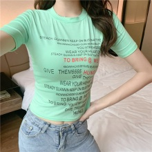 купить Women T-Shirt Korean Style Letter Print T Shirt O-Neck Short Sleeve T-Shirt 2019 New Summer Casual Candy Color tee shirt femme дешево