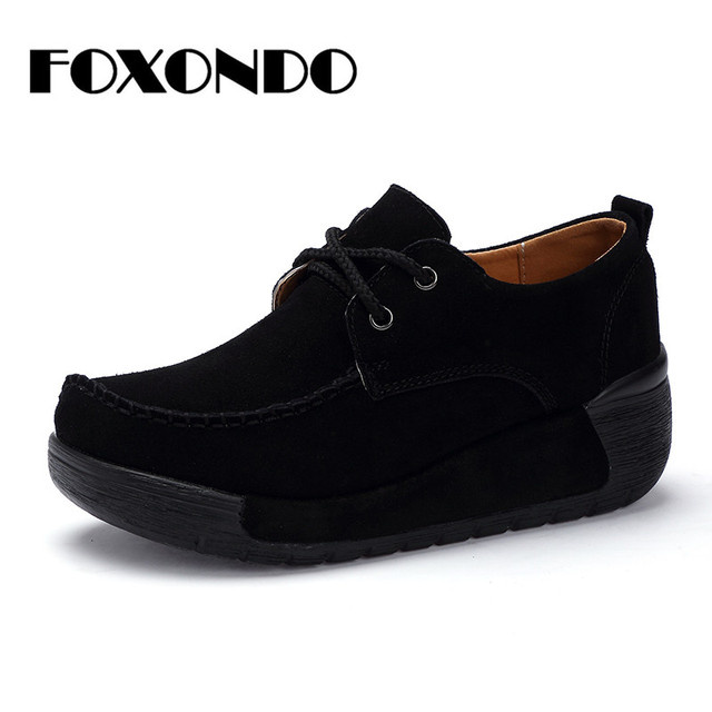 37d257375c78 FOXONDO 2018 Autumn women flats thick heel high platform shoes leather  suede ladies casual sneakers lace up flats creepers shoes