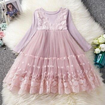 Kids kleding lange mouwen lace jurken voor meisjes meisje feestjurk bloemenprint verjaardag tutu jurken kinderen vrijetijdskleding