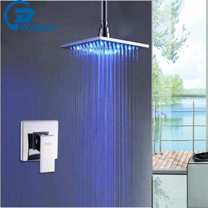 POIQIHY Chrome Finished Single Handle Mixer Tap Brass Ceiling Mounted 8 10 12 16 LED Rainfall Shower Head
