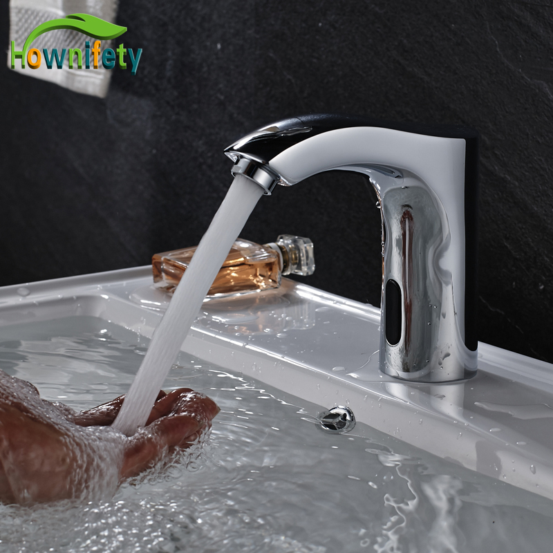 Chrome Polished Bathroom Sink Sensor Faucet Automatic Inflrared Sensor Hand Touch Tap Hot Cold Mixer Tap