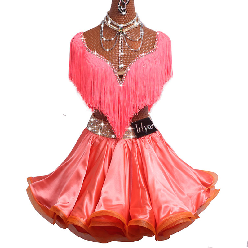 2017 Sexy Ladies Latin Dance Dress Women Stage Suit Pattern/Print Cheongsam Stage Salsa Tassel Skirt Samba Dress DM1032