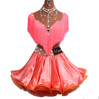 2017 Sexy Ladies Latin Dance Dress Women Stage Suit Pattern/Print Cheongsam Stage Salsa Tassel Skirt Samba Dress DM1032