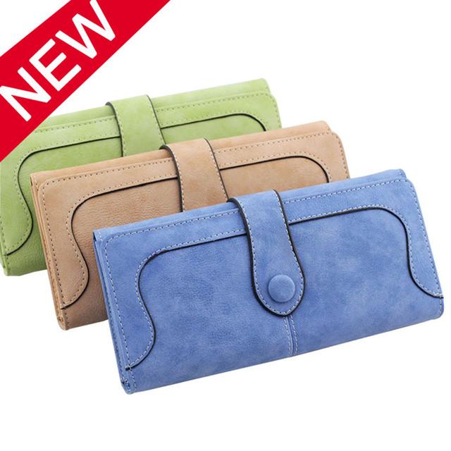 New Arrive 2017 Fashion Retro Matte Stitching Wallet Women Long Purse Clutch Women Casual Hasp Dollar Price Wallet Handbag