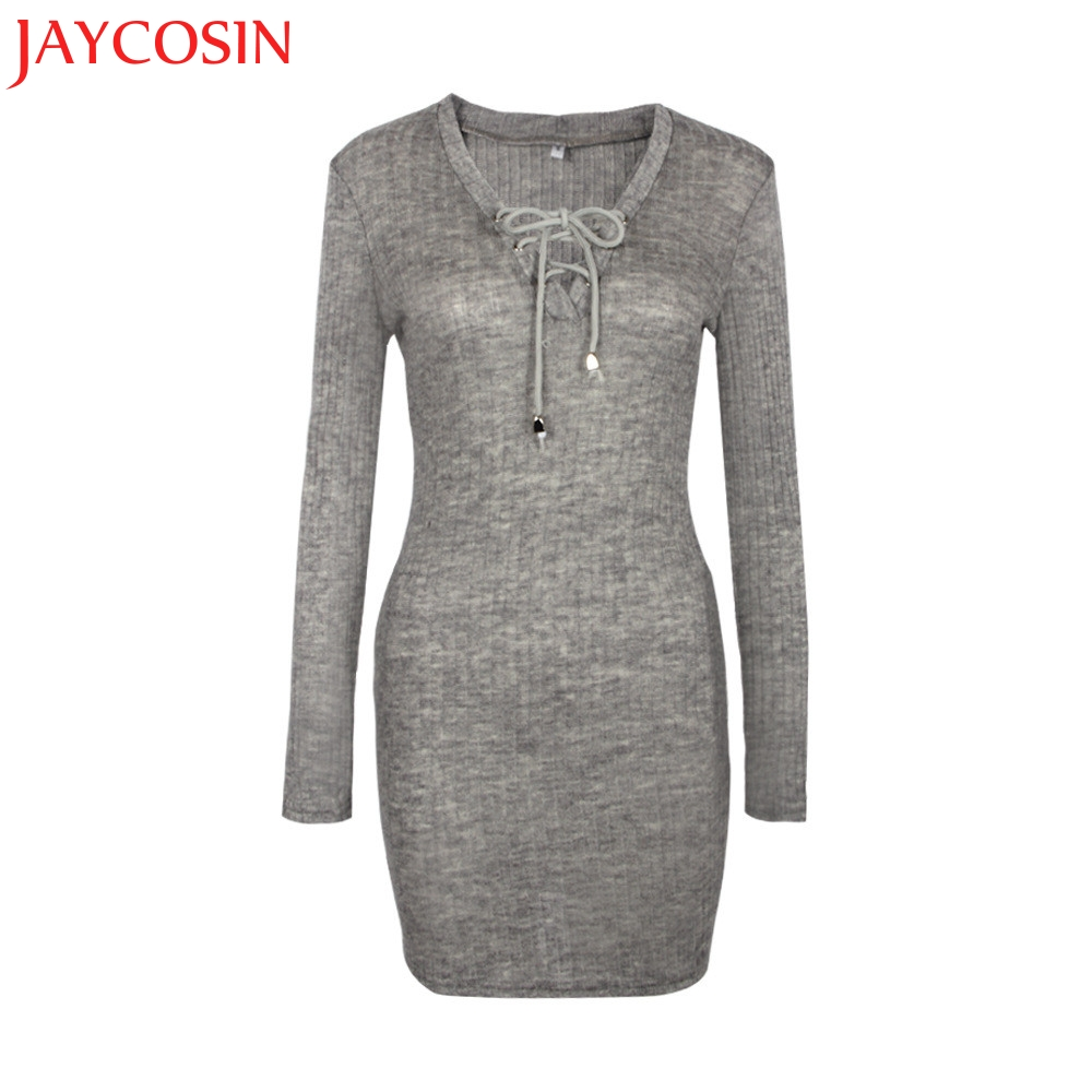 JAYCOSIN SIF 2018 Fashion Women Winter Solid V neck Long Sleeve Knitted BodyCon Sweater Dress Best For Women Drop Shipping 123