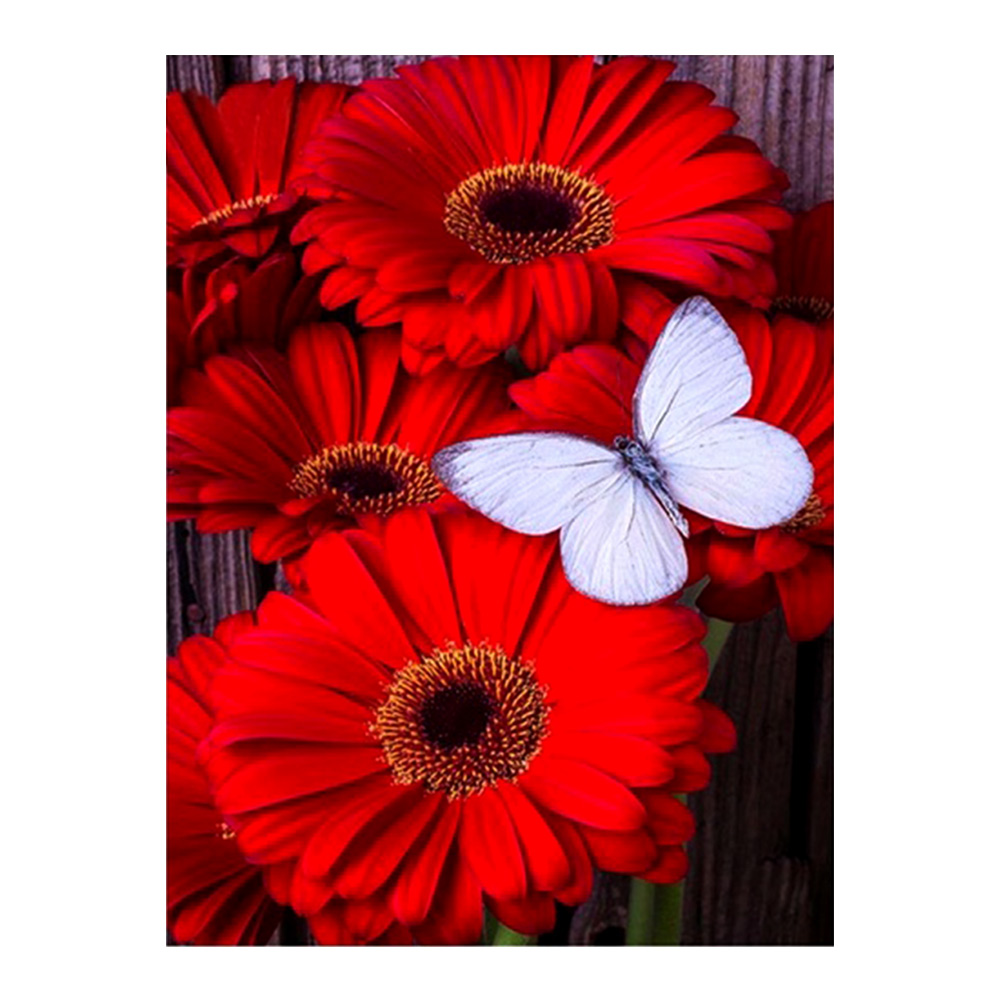 Red flower Diamond Painting Full Round White butterfly New DIY Sticking Drill Cross Embroidery 5D Sunflower Home DecorationRed flower Diamond Painting Full Round White butterfly New DIY Sticking Drill Cross Embroidery 5D Sunflower Home Decoration