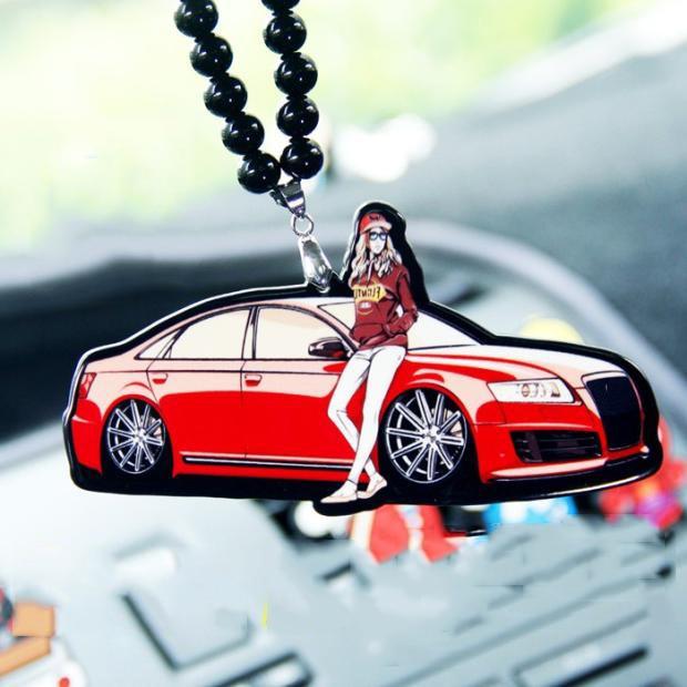 merah keren mobil kecantikan gadis ganda sisi printed badge fashion liontin kaca spion jdm ornamen