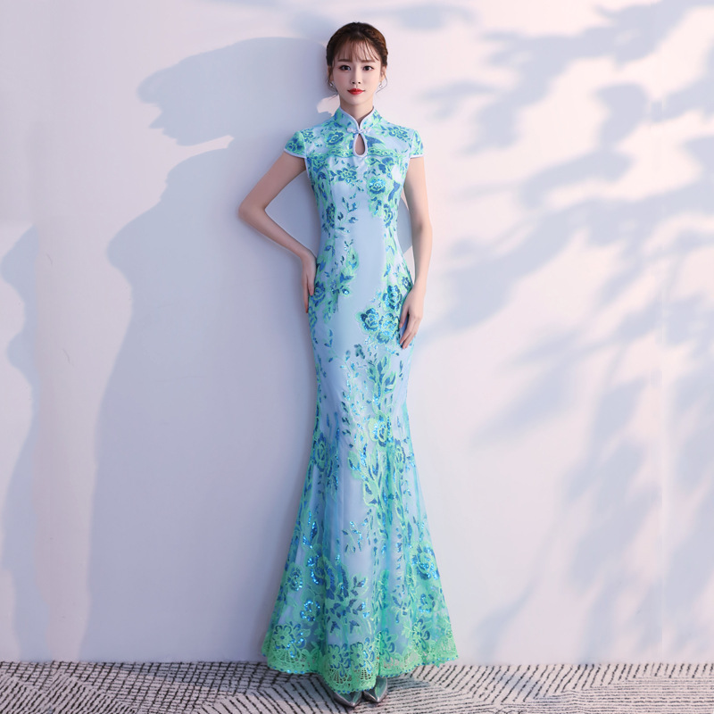 Blue Long Cheongsam Sexy Modern Qipao Dress Embroidery Mermaid Dress Chinese Traditional Clothing Party Dresses Robe Orientale