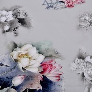 Image 2 - [BYSIFA] Luxury Grey Pink Women Silk Scarf Shawl Fashion Natural Silk Long Scarves New Lotus Design Elegant Satin Neck Scarf