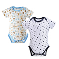 2pcs/lot Baby Rompers Boys Newborn Short Sleeve 100%Cotton Summer Baby Clothes Baby Wear Jumpsuits Clothing Set Body Suits