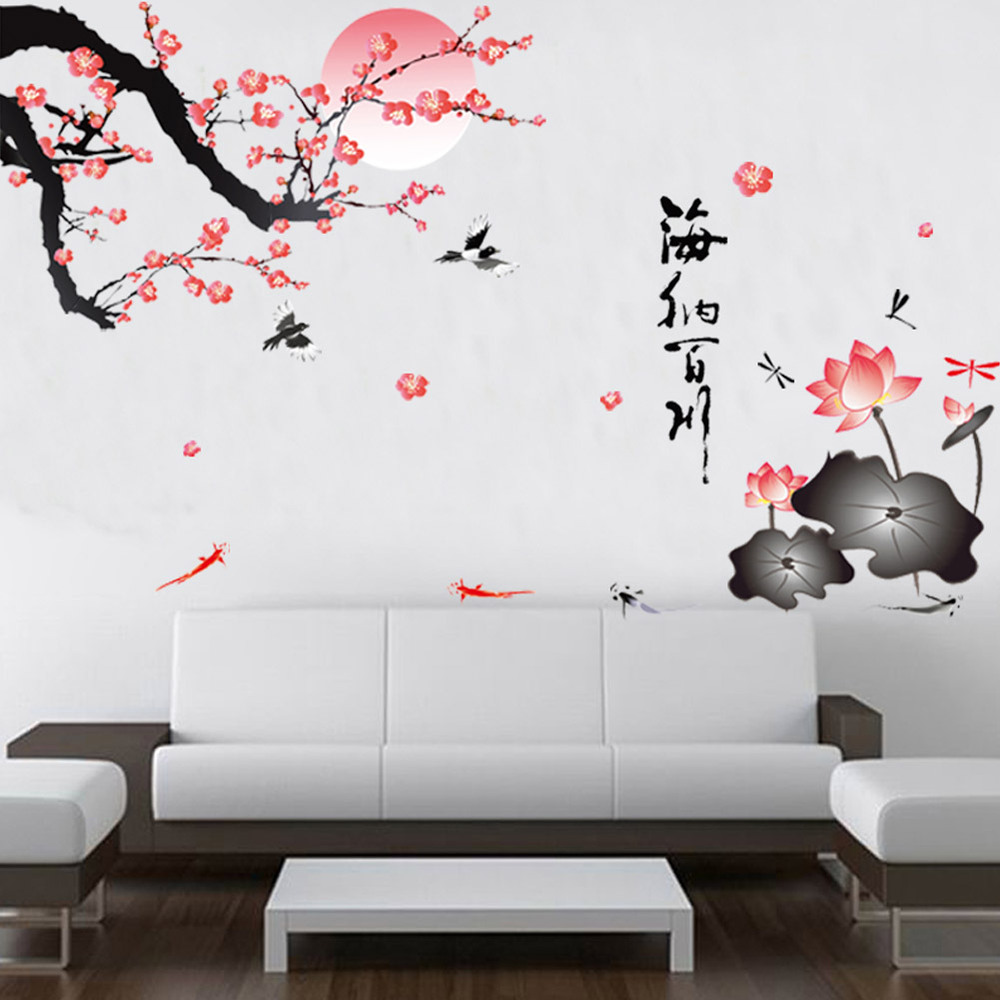 compare prices on moon quotes online shopping buy low price moon plum blossom lotus flower birds moon romantic home living room decorative wall stickers 897 chinese quote