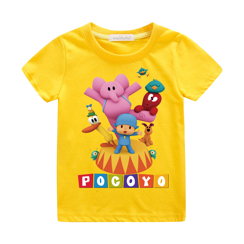 Girls Cute Cartoon Pocoyo Print T-shirts Costume Boys Short Sleeve Tshirts Clothing Children Summer Casual Tee Top Clothes ZA064 (5)