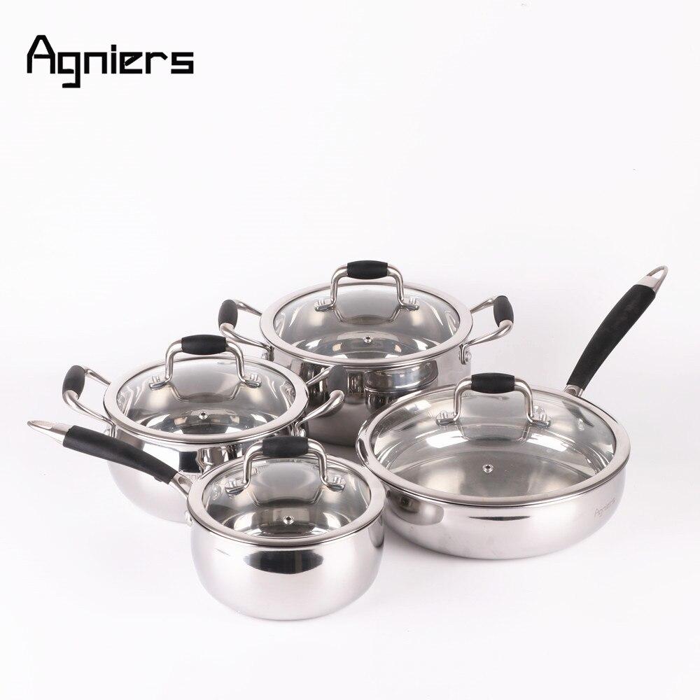 Agniers 4 кастрюли 8 шт. светильник серебро Нержавеющая сталь набор посуды со стеклянной крышкой два супа кастрюля + соус кастрюля + Saute кастрюля