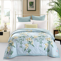 Classical Royal Style Light Blue Summer Quilt 150 200cm 200 230cm Size Quilted Quilt Thin Bedding