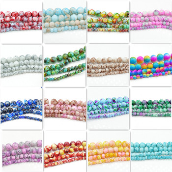 Wholesale glass beads round loose spacer beads pattern for making jewelry DIY bracelet necklace 4mm6mm8mm10mm 1