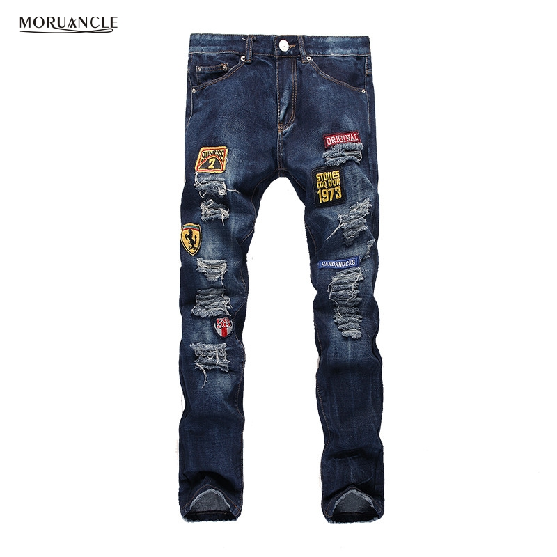 2017 Fashion Mens Ripped Patch Jeans Slim Fit Distressed Denim Joggers For Man Straight Blue Jean Trousers With Patches Holes 2017 fashion patch jeans men slim straight denim jeans ripped trousers new famous brand biker jeans logo mens zipper jeans 604