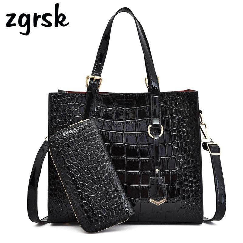 Alligator Women Bags Crocodile Pattern Handbag Capacity Casual Shoulder Messenger Ladies PU Leather Purse