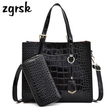 Alligator Women Bags Crocodile Pattern Handbag Capacity Casual Shoulder Messenger Ladies PU Leather Purse