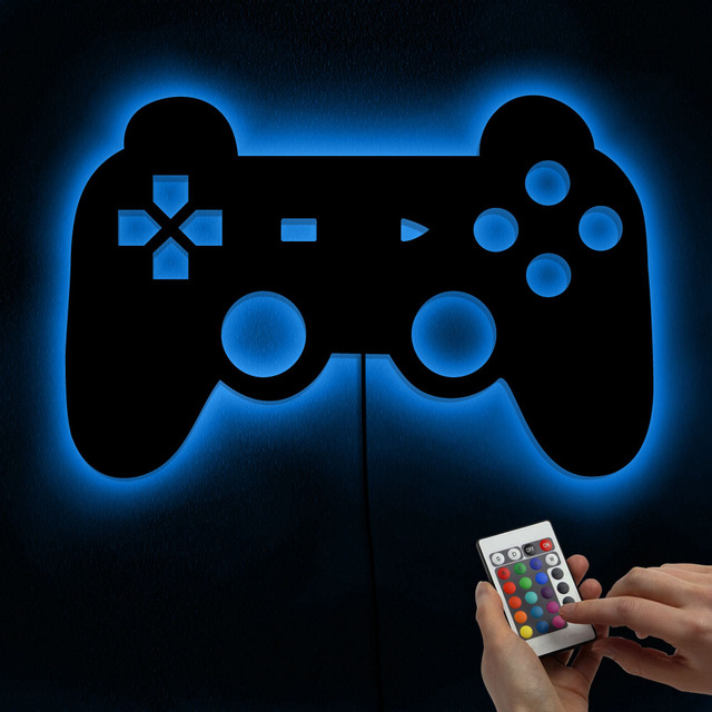 Gamepad Controller Wall Mirror With LED Backlight Joystick Game Decorative Mirror Video Game Retro Arcade Home Decor Gamers Gift 5