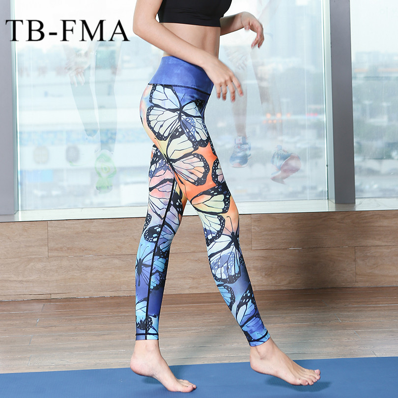 a3d824a8ad8723 ... Printed Yoga Pants Women sport pants Fitness Yoga Leggings Quick Dry  Floral gym clothes ...