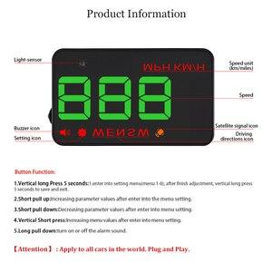 Image 3 - A5 범용 자동차 GPS HUD 헤드 디스플레이 속도계 디지털 오버 스피드 경고 윈드 실드 자동 탐색 진단 도구