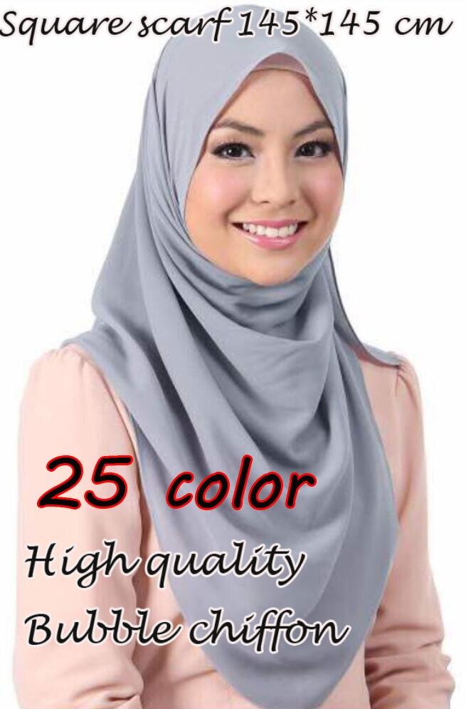 高品質の正方形サイズバブルシフォンショール夏の素敵なヘッドバンドラップイスラム教徒ハンカチ 25 色スカーフ/スカーフ 145*145 センチメートル  グループ上の アパレル アクセサリー からの レディース スカーフ の中 1
