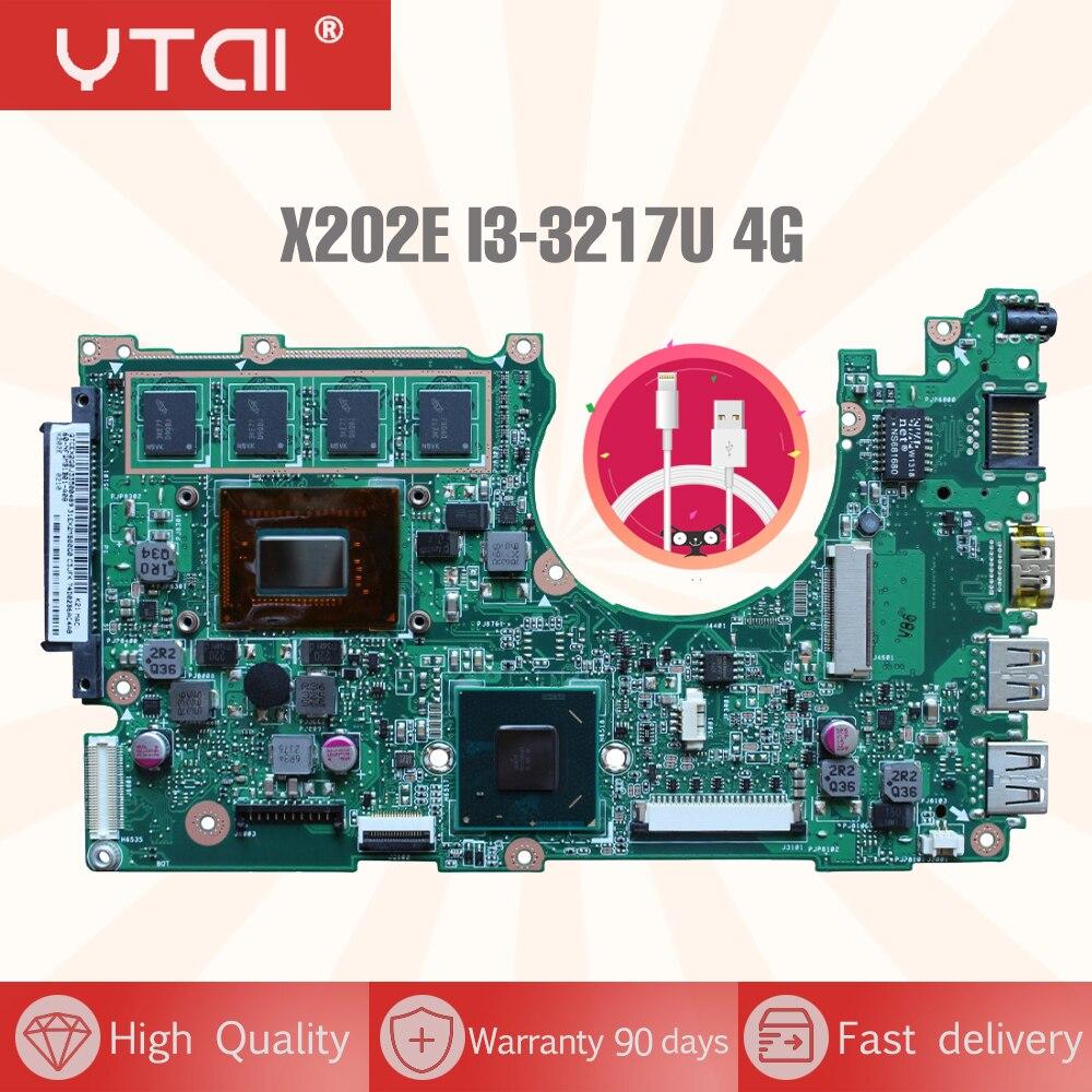 YTAI X202E I3-3217U 4G RAM For ASUS X202E X201E S200E Laptop Motherboard REV:2.0 HM76 100% working free shipping laptop motherboard for asus vivobook x202e dh31t x202e rev 2 0 60 nfqmb1700 b02 987 cpu hm70 gma hd good
