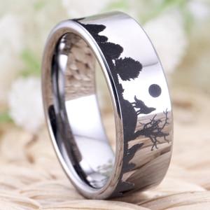 Image 3 - Wolf Design Ringe Für Frauen Männer Wedding Band Ring 8mm Wolfram Ring Partei Schmuck Engagement Ring Mit Ring box Drop Schiff