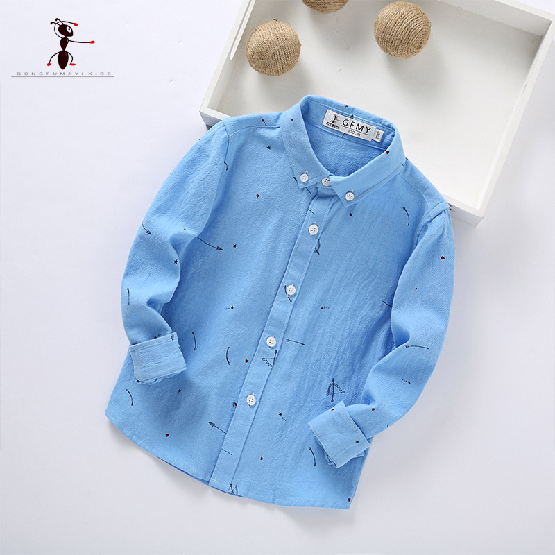 Kung Fu Ant Boys Shirts Pink White Blue for Students Full Sleeve Warm Uniforms Cotton Blouses Turn-down Collar Home 178602 kung fu ant plaid long sleeve autumn new arrival turn down collar blusas school blouse boy shirt long sleeve cotton 7105