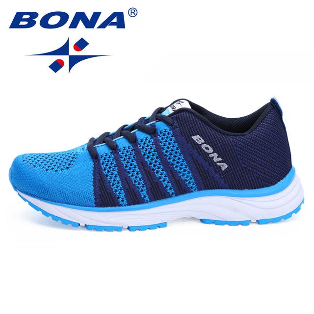 BONA nuevo estilo clásico zapatillas de correr para mujer Zapatillas de correr para correr al aire libre zapatos deportivos de malla de encaje suave rápido envío gratis