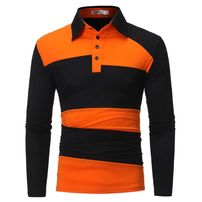 Men's 2018 new autumn and winter fashion lapel Splice long sleeve   polo   Contrast Slim Cotton business Casual   Polo   Shirt Men Top
