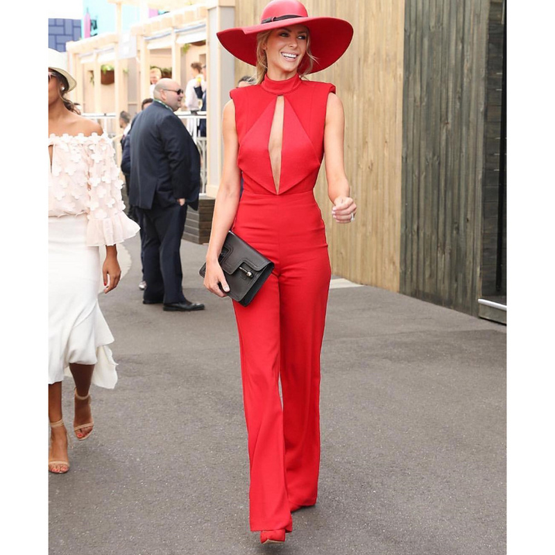 wholesale 2017 new Jumpsuits red V-neck Fashion casual Celebrity sexy Rompers(H1560)