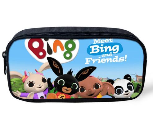 Cartoon Bing Bunny Print Pencil Bags Kids Baby Pen Pouch Cute Women Cosmetic Cases Child School Supplies Stationery
