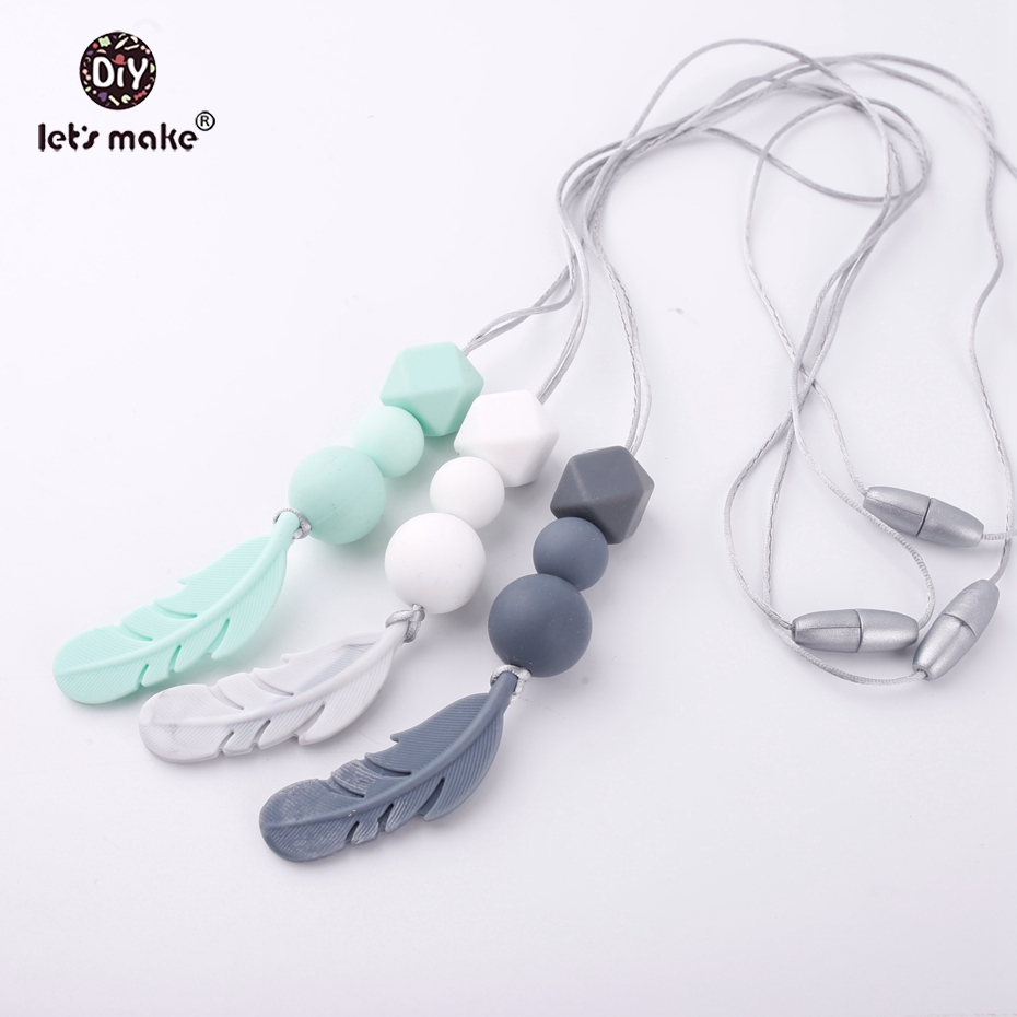 Let's Make 1pc Silicone Nursing Necklace Food Grade Mom Jewelry For Baby Teething Chewable Silicone Beads Feather Baby Teether