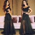 2017 Prom Dresse Negro Appliques Del Cordón de Tulle Con Rebordear Por Encargo vestidos de noche Vestidos de noche