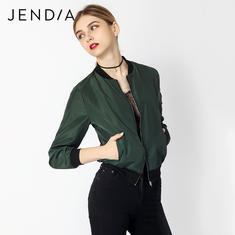 JENDIA Women Casual Bomber Jacket Coat Autumn Winter Windbreaker Tops Long Sleeve Fashion Stand Collar Jackets Slim Zipper Coats 1