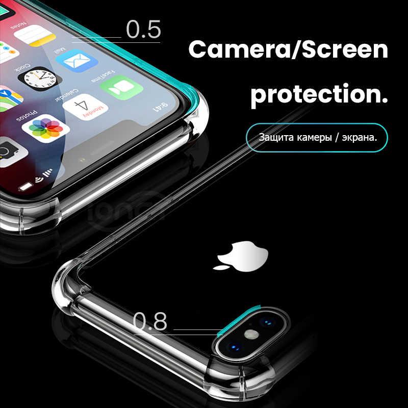 高級耐震透明なシリコーン電話ケース iphone × ケース XR XS 11 pro 最大 Coque iPhone 7 ケース 8 6 6S プラス保護カバー