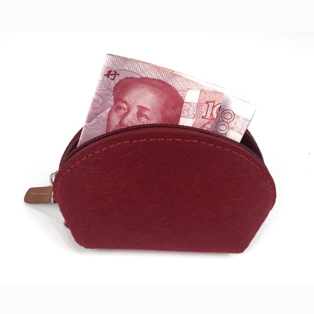 New Arrival felt lady coin purse candy zipper short coin design cash wallet for women as small cute gift