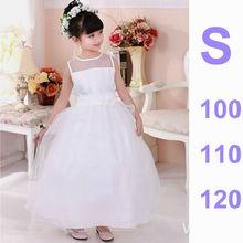 Baby Girls Branded Wedding Dress Solid White Flower Girl Dress Kids Cute Bubble Party Dress Long Sleeveless Princess Lace Dress