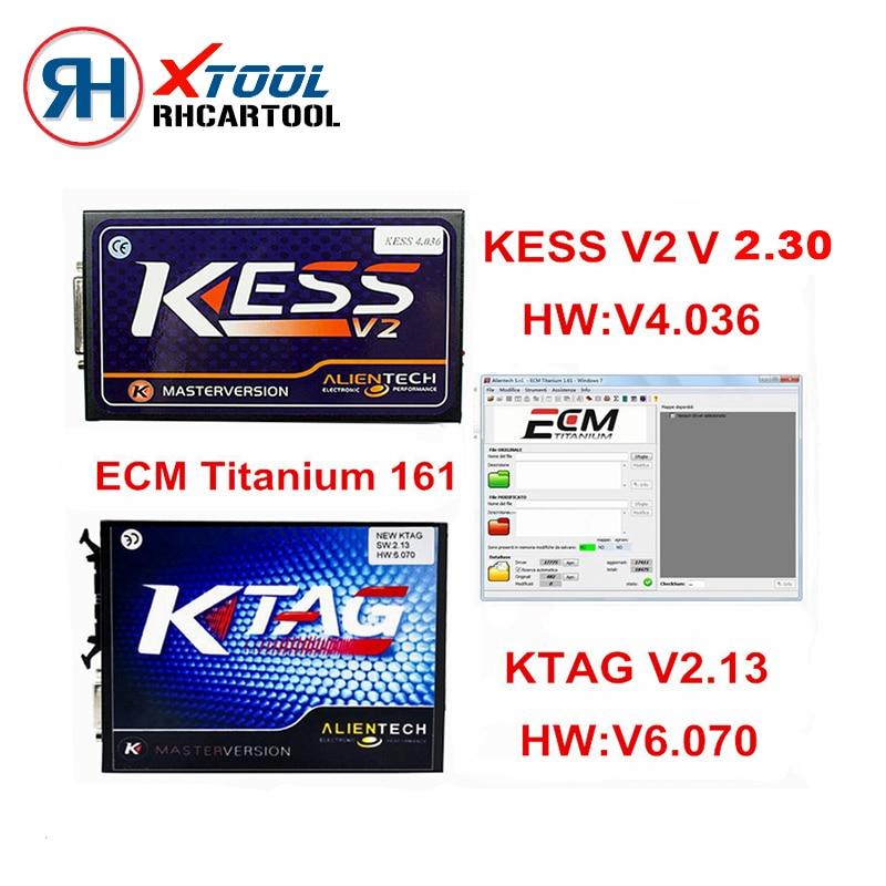 Prix pour Super OBD2 ECU Chip Tuning Programmeur KTAG V2.13 Matériel V6.070 KESS V2 Maître V2.28 HW V4.036 Non Jetons Limmited Ecm Titanium