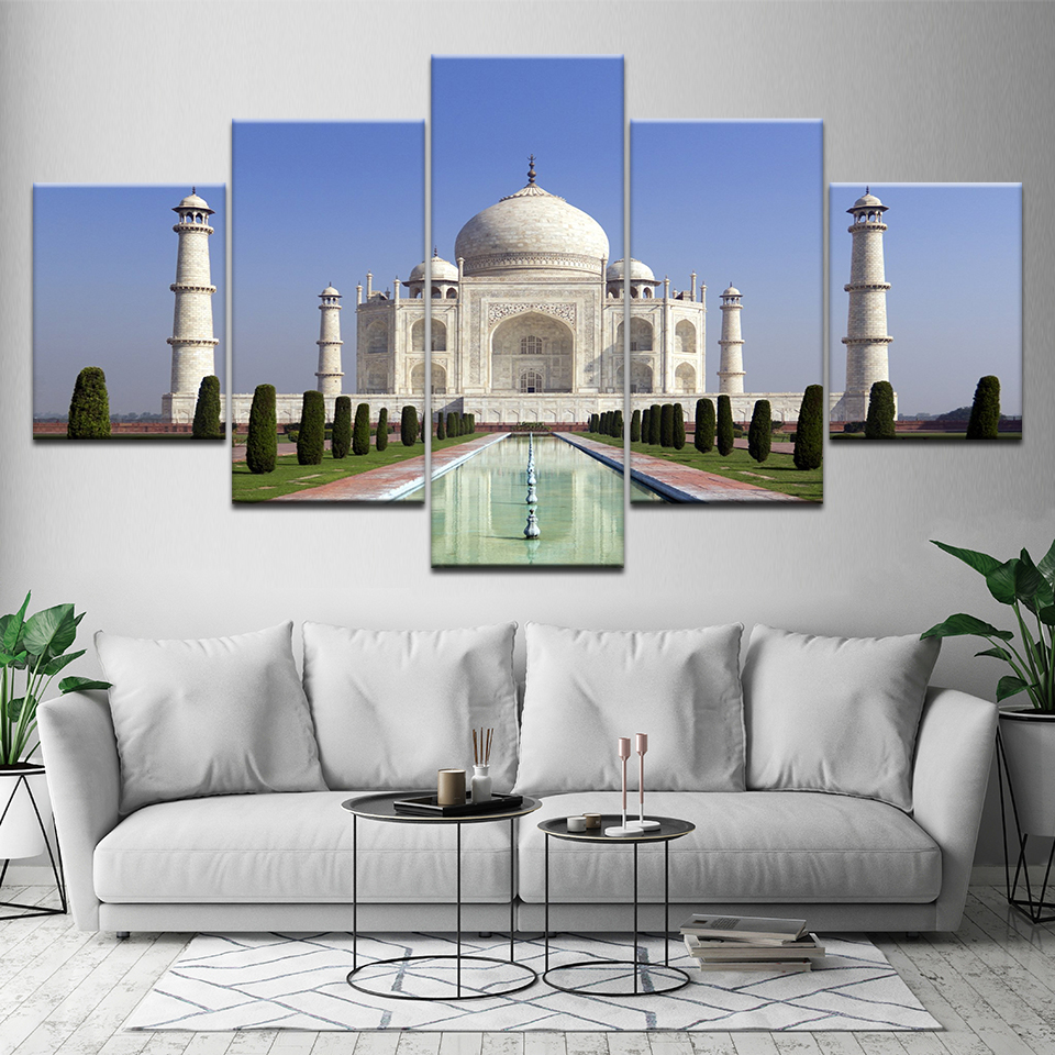 Canvas Painting Taj Mahal blue sky 5 Pieces Wall Art Painting Modular Wallpapers Poster Print for living room Home Decor in Painting Calligraphy from Home Garden