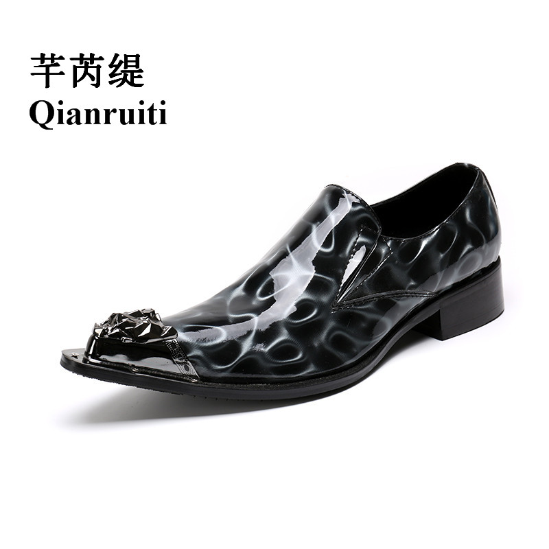 Qianruiti British Style Men Patent Leather Loafers Paisley Oxfords Wedding Shoes Metal Toe Slip-on Slippers Men Dress Shoe qianruiti men slip on loafers metal toe lion head business wedding oxfords silver chain high quality men dress shoe eu39 eu46