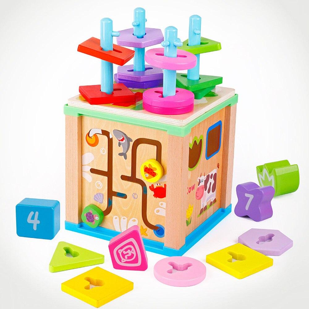 Multi-fonction en bois mathématiques autour de perle numéro forme correspondant boîte à trésor jouet pour bébé enfant en bas âge éducation précoce jouets mathématiques
