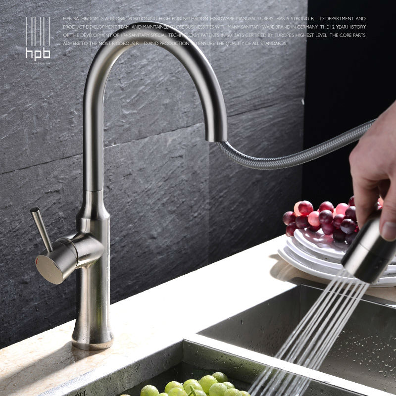 HPB Brass Pull Out Spray Rotary Brushed Kitchen Faucet Sink Mixer Tap Single Handle Deck Mounted Hot And Cold Water HP4114 luxury pull out kitchen faucet deck mounted vessel sink mixer tap single handle hole hot and cold water