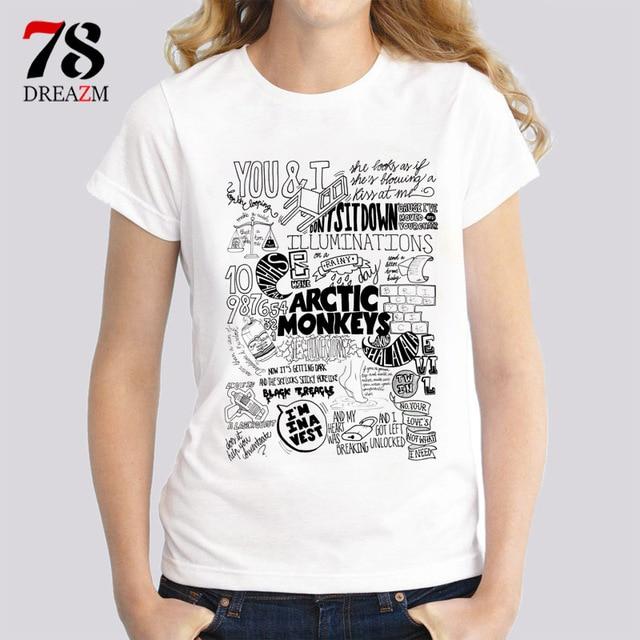 a7ee9a13e arctic monkeys t shirt female rock n roll music band Women print t-shirt  white tees summer casual loose O-neck tops